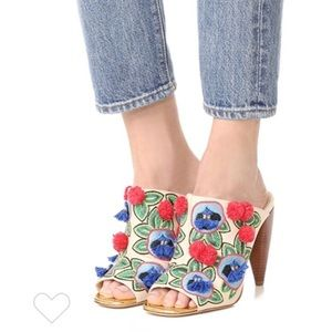 New Tory Burch Ellis Embroidered Mules Heels 5.5